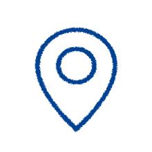 Der blaue location marker.